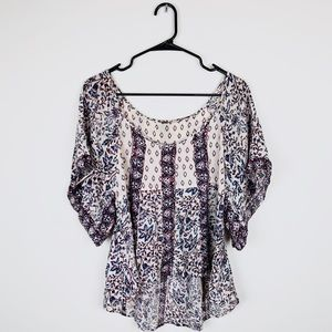Free People Flowy Floral Blouse Top